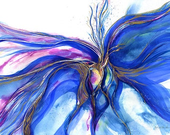 """Blue, Pink, Abstract Spiritual art painting, Giclee archival print from original painting """"Awakening"""" by Kathy Morton Stanion EBSQ"""