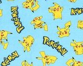 Pokémon cotton fabric from Robert Kaufman, Light Blue, 1 yard