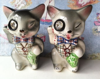 Vintage Lefton Teacher's Professor Student Cats Kitties Scholars Salt and Pepper Shakers Antique Lusterware Collectibles or Cake Toppers