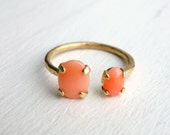 Brass Dual Ring- Coral and Coral