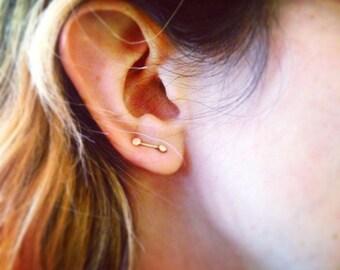 14k Gold Double Dot Ear Pins - Ear Climber- Small Ear Pin - Handmade