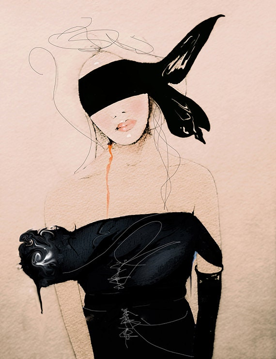 Lanvin2 SS/10 - Fashion Illustration Art Print, Woman, Mix Media Painting by Leigh Viner
