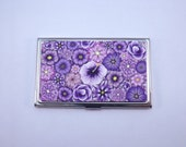 Business Card Case, Colorful Purple Millefiori Floral Polymer Clay Embellished