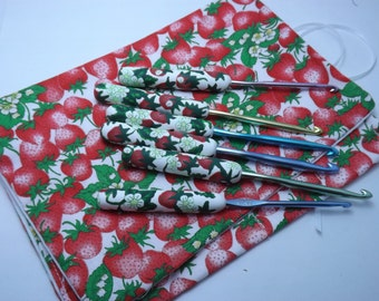 Polymer Clay Covered Crochet Hooks With Matching Holder, Handcrafted 6 PC Set of Strawberries with Flowers