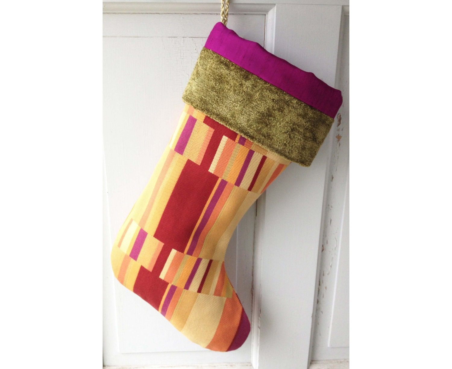 Colorblock Modern Christmas Stocking Bright by spongetta on Etsy