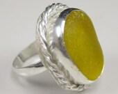 Yellow Sea Glass Ring Sea Glass Jewelry Yellow Ring Size 6 - R-069