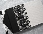Wedding Guest Book Ivory with Black Beaded Lace Handmade Made to Order