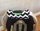 Cute NEW DESIGN Black Chevron and Green Kiss Dot REVERSIBLE Car Seat Handle Arm Pad with Hand Grip