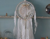 Flowers Whisper Dreams - Abandoned Vintage Bits of Fabric Crochet and Lace Shabby Chic Dreamcatcher