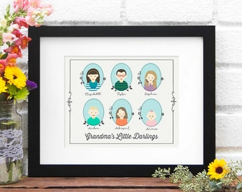Illustrated Family Portrait, Holiday gift, Family Tree, Personalized Family Illustration, Grandkids- Art Print Custom Illustration