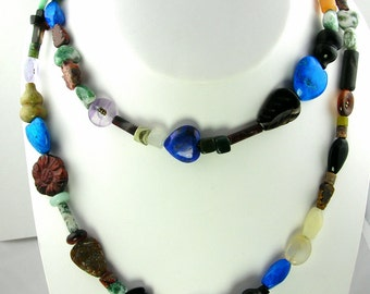 Crazy Mix of Shapes Long Necklace and Earring Set N-283