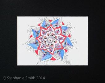 Original Expressive Energetic Mandala Matted Drawing: Letting it Grow