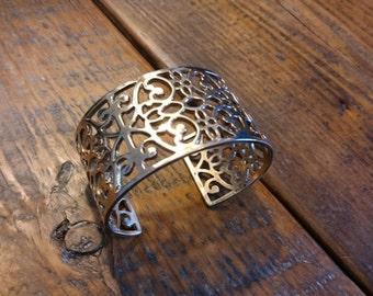 Gold Vermeil Sterling Silver Victorian Style Cuff Bracelet - SALE