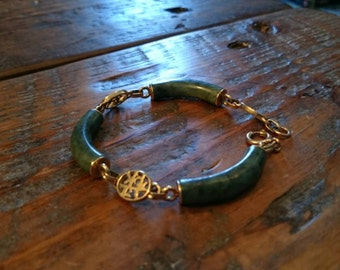 14K Gold and Green Jade Bracelet with Chinese Characters as charms