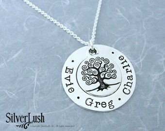 Family Tree Hand Stamped Sterling Silver WASHER Necklace