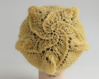 Yellow knitted hat with sea star, handmade women hat