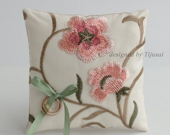 Ring pillow with embroidered floral fabric-ring bearer, ring cushion, ready to ship