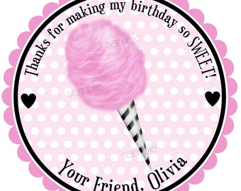Pink and Black Cotton Candy Stickers, Cotton Candy labels, Circus Stickers, Birthday, Circus, Carnival, Candy, Favor, Set of 12