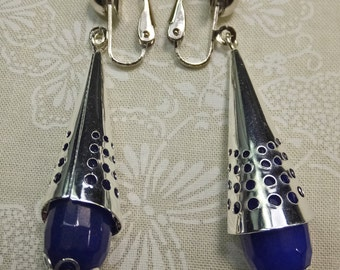 Steampunk Blue Stone Wrapped in Silvery Cone Dangle Earrings Clip ons