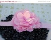 ON SALE Light Pink Satin and Tulle Puff Flower Elastic Headband