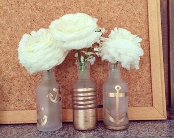 Gold Dipped Vase Trio -Nautical