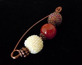Shawl Pin, Copper Pin, Scarf Pin, Beaded Pin, Beaded Beads, Fibula, Copper Fibula, Handmade Scarf Pin