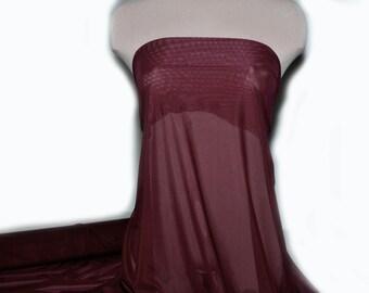 "Power mesh stretch fabric, semi sheer, 4 ways stretch.. Burgundy   . 58 "" wide.. dance, pageant, formal, costume,"