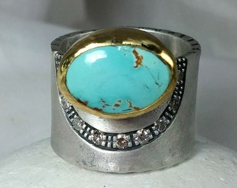 Turquoise Statement Ring, Diamond and gold ring with turquoise, wide turquoise ring, one of a kind