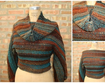 Brown / Blue Blend Pullover Sweater - Custom Colors availalbe- Autumn Blend - 1 week to ship