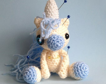 Cloud the Amigurumi Blue Voodoo Unicorn