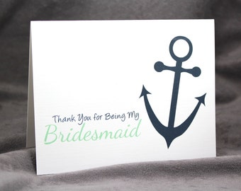 Bridesmaid Thank You Card for Nautical Wedding with Anchor, Personalize Colors