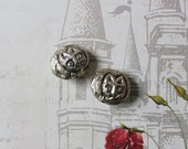 Repousse Silver Cat Beads