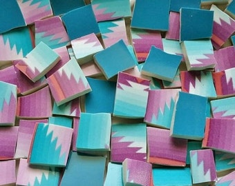 Mosaic Tiles--Navajo Turquoise Purple / with Teal Mix--100 tiles