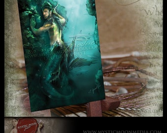 LIMITED...Hunted... ACEO / ATC.. Fantasy Picture...Merman with Sharks Hiding in the Deep