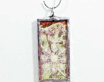 Soldered Charm Pendant with Vintage Lace