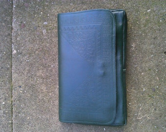 Vintage 1980s Green Leather Clutch bag Handbag