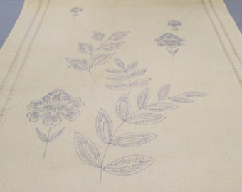 Linen Embroidery Panel DIY - Dresser Scarf/ Table Runner