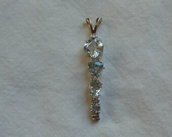 4 stone aquamarine sterling silver pendant 2.65 ctw