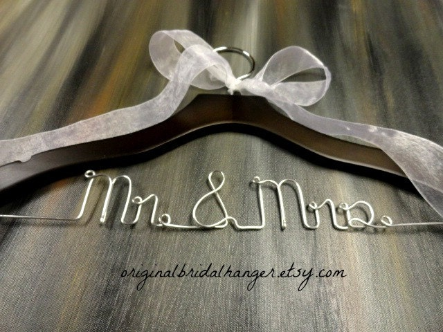 Mr mrs hangers wedding dress hanger by originalbridalhanger for Mrs hangers wedding dress