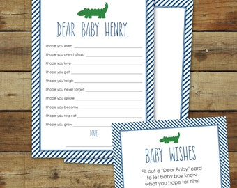 Alligator baby shower game, printable baby shower game, dear baby, customizable, gator baby wishes, editable instant download
