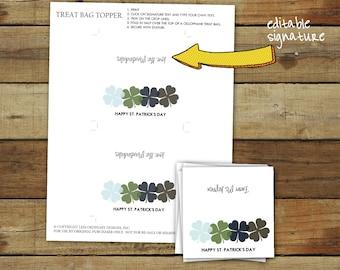 Printable 4 leaf clover party treat bag toppers, St. Patrick's Day favor bag tags, editable pdf, instant download, four leaf clover