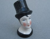 1920s Flapper Doll Pierrot China Doll Head Molded Top Hat Doll Head