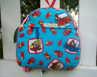 My Carrie Toddler Backpack Made Using Curious George Fabric