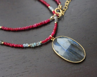 Labradorite pendant with ruby necklace, red  gemstone choker  necklace, strung gemstone necklace
