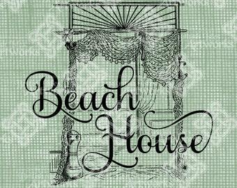 Digital Download Beach House Sign Antique Illustration, Vintage drawing, digi stamp, Digital Transfer, House Signage