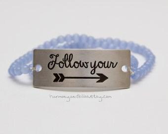Inspiratonal statement jewelry Follow Your Arrow bracelet motivational jewelry boho chic arrow charm stackable