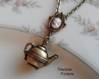Time for Tea, Cameo and Teapot Necklace- Brass Ox / Peach- Pink