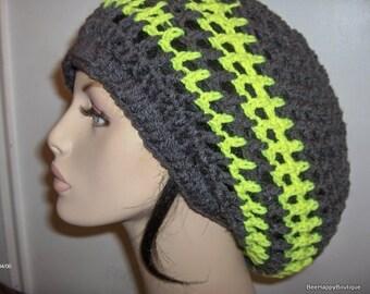 Dreads Hat Mens Womens Charcoal Neon Yellow Rasta Slouchy Hat Dreadlocks Slouchy