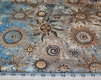 Cotton Fabric Fat Quarter Metallic Gold and Black Sun Faces on blues / greys fiber arts crafts decor quilts mixed media collage