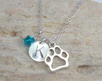 Dog Lover Personalized Hand Stamped Silver Necklace with Paw Charm and Swarovski Birthstone, Passion For Paws Dog Stamp Necklace [#933]